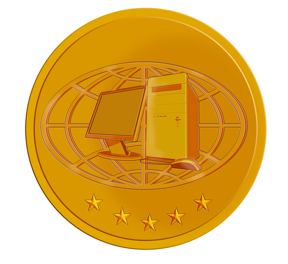 Pc Computer In Gold Coin