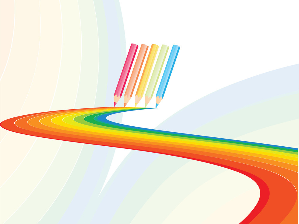 Pencil Design A Wave In Different Color