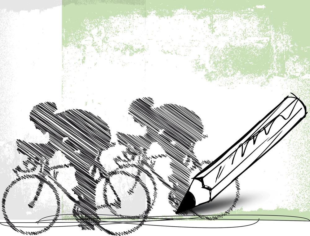 Pencil Drawing Of Bikers. Vector Illustration