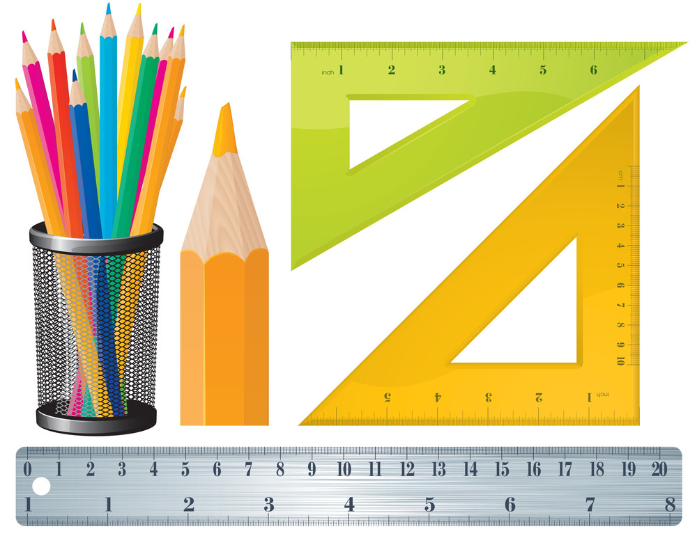 Pencils And Rulers. Vector.