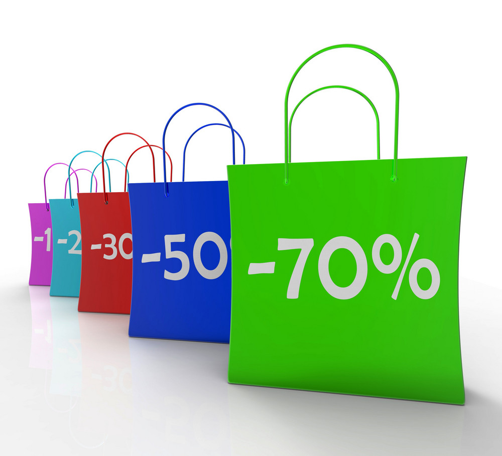 Percent Off On Shopping Bags Shows Bargains