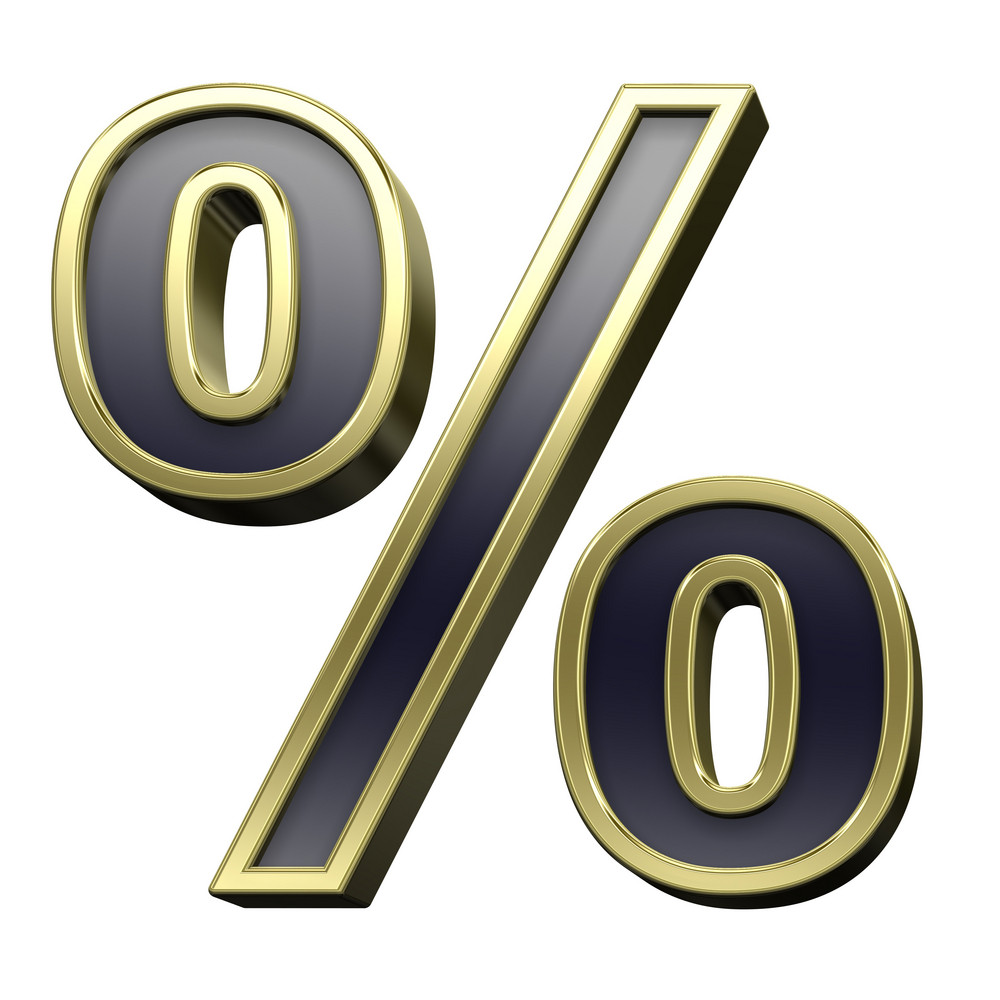 Percent Sign From Black With Gold Shiny Frame Alphabet Set