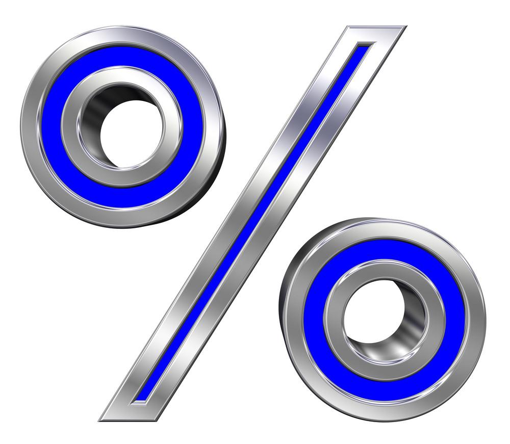 Percent Sign From Blue With Chrome Frame Alphabet Set