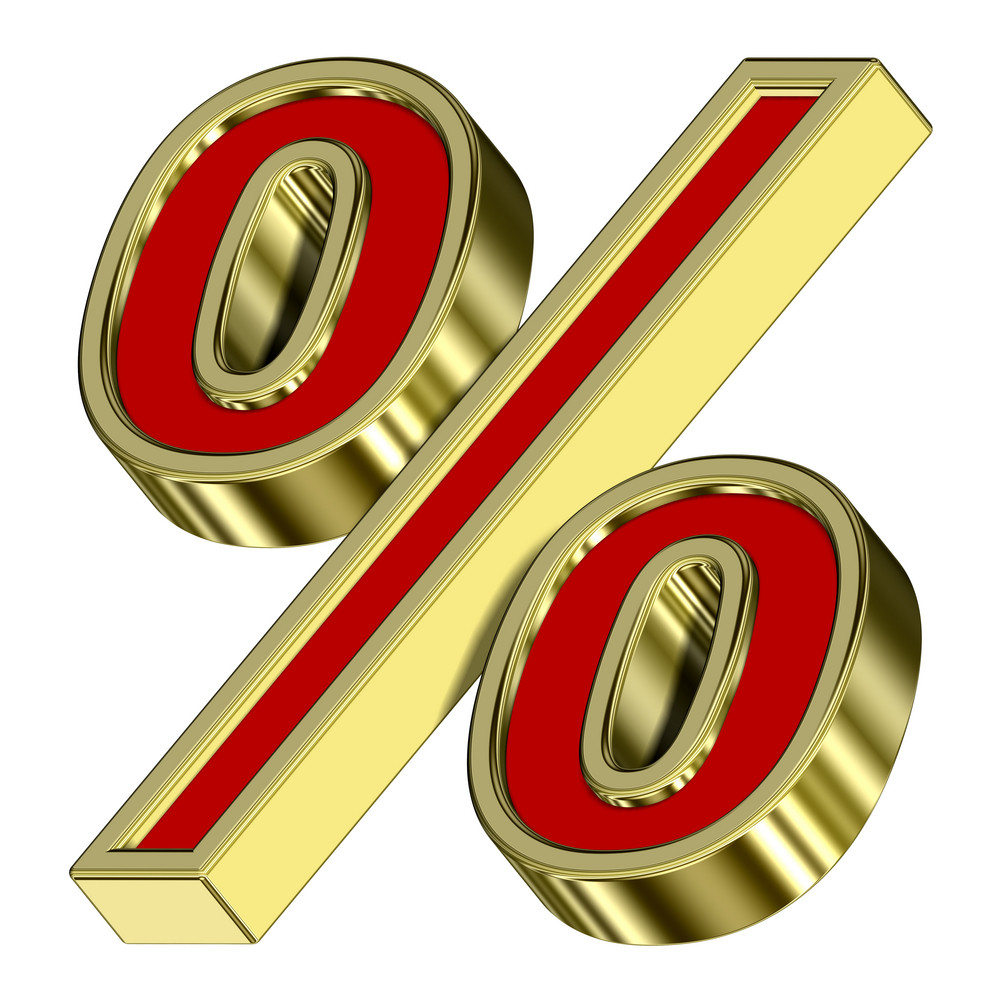 Percent Sign From Red With Gold Frame Alphabet Set, Isolated On White