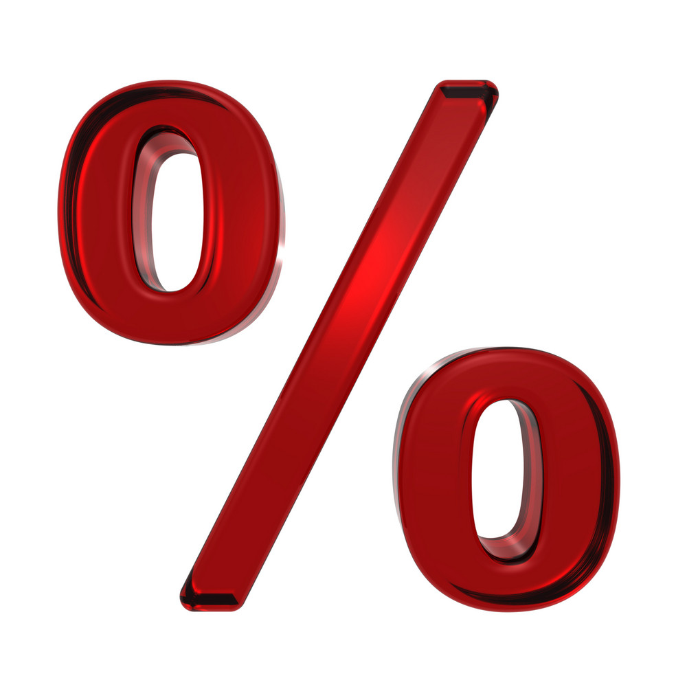 Percent Sign From Ruby Alphabet Set, Isolated On White.