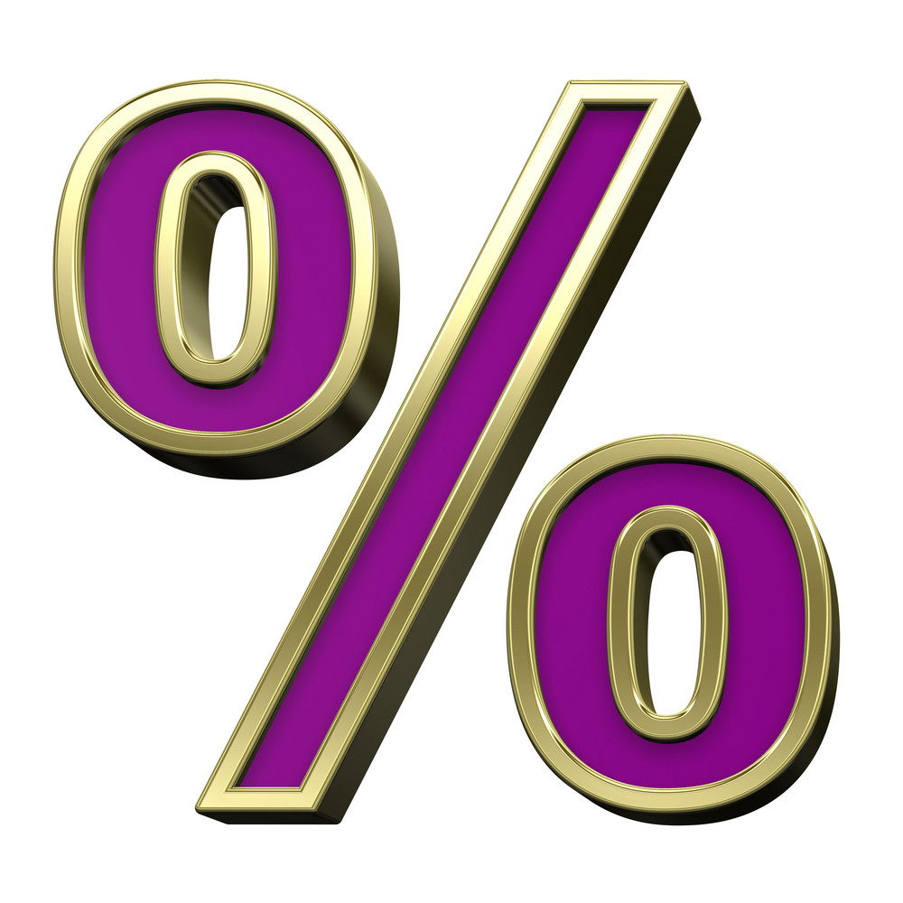 Percent Sign From Violet With Gold Shiny Frame Alphabet Set