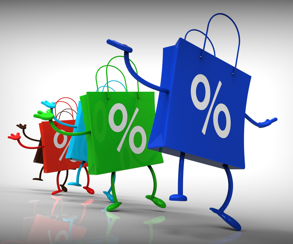 Percent Sign On Shopping Bags Showing Bargains