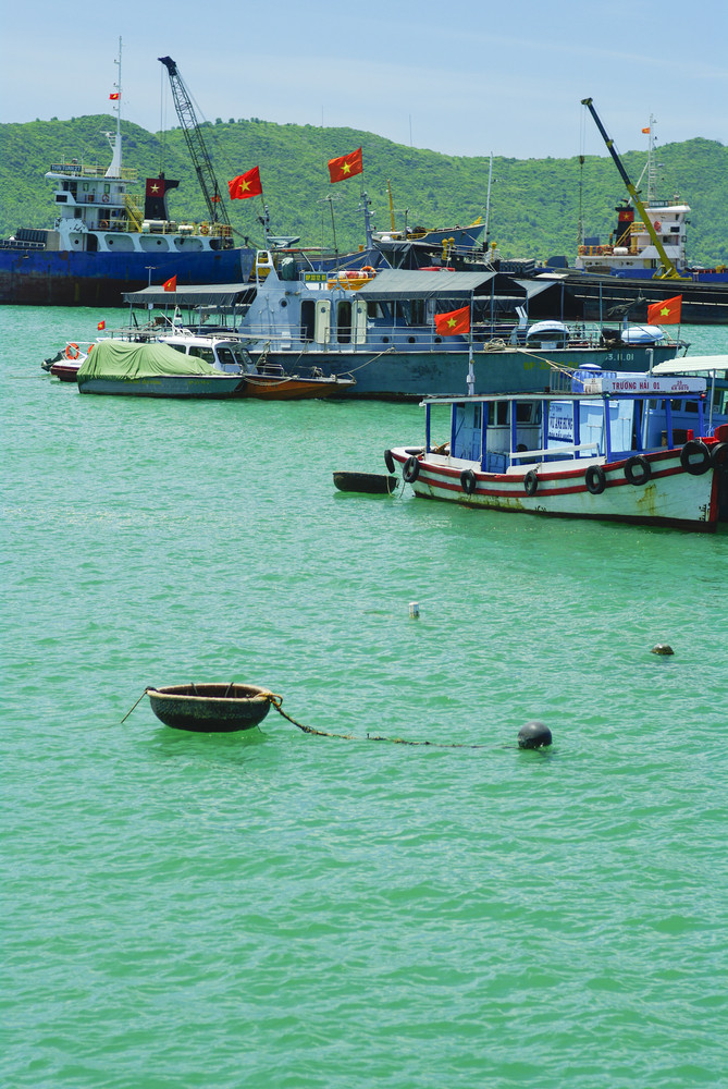 Photo of fishing boats on the sea, Vietnam