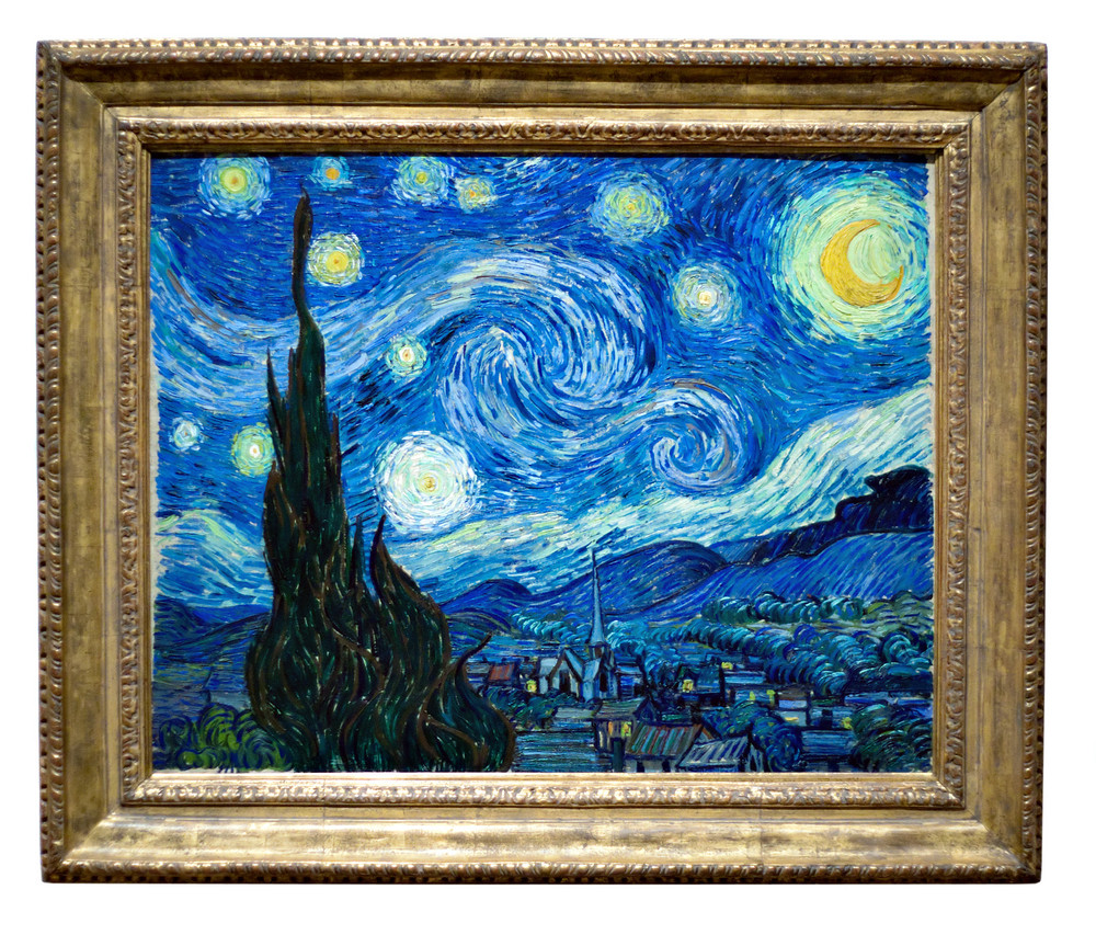 Photo of the famous original Starry Night painting by artist Vincent Van Gogh.  Oil on canvas.