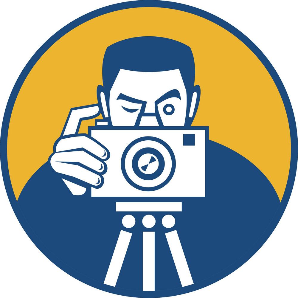 Photographer With Camera Retro
