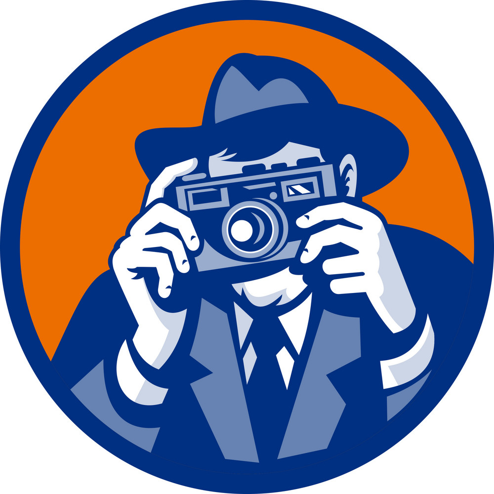 Photographer With Fedora Hat Aiming Retro Slr Camera