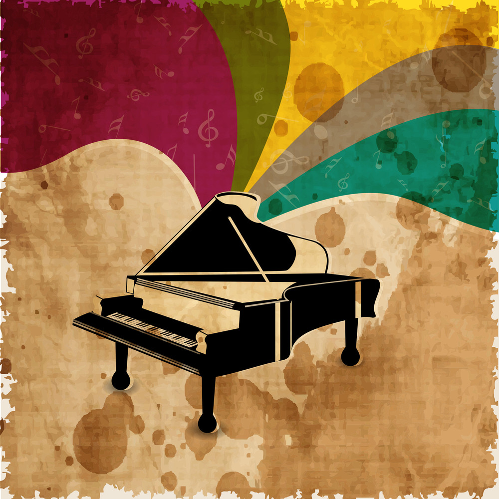 Piano On Colorful Grungy Background.