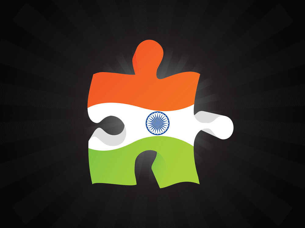 Piece Of Indian Flag Isolated On Black