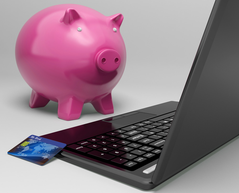 Piggy At Computer Shows Investment Growth Banking
