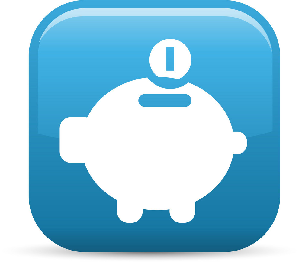 Piggy Bank Elements Glossy Icon