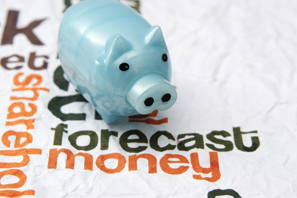 Piggy Bank On Forecast Money Concept