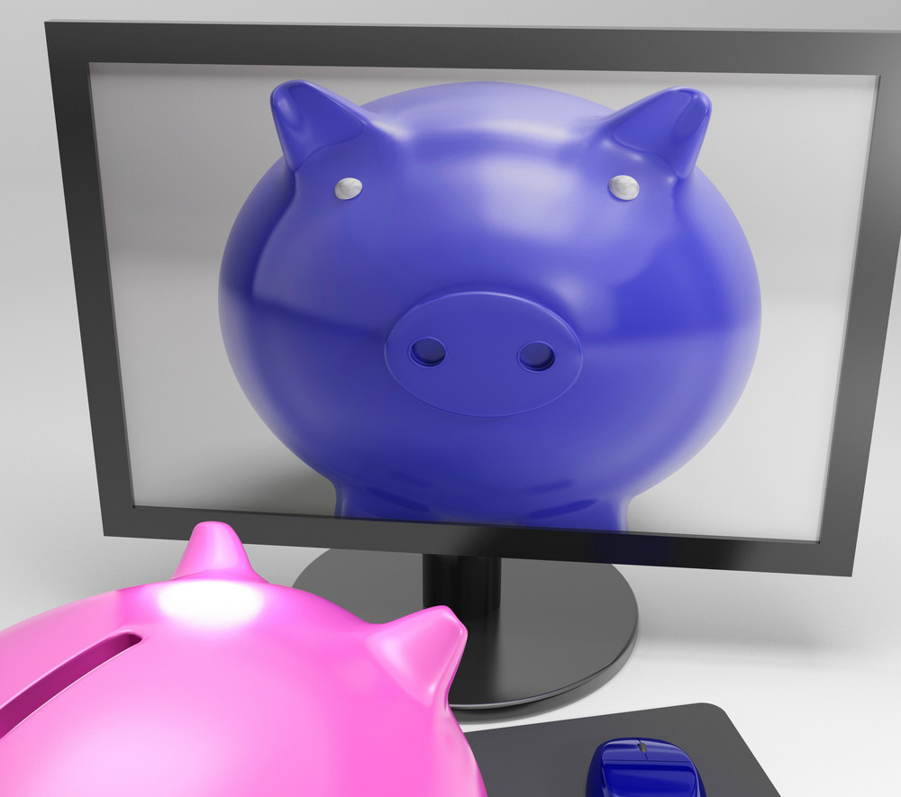 Piggy On Screen Shows Digital Savings Media