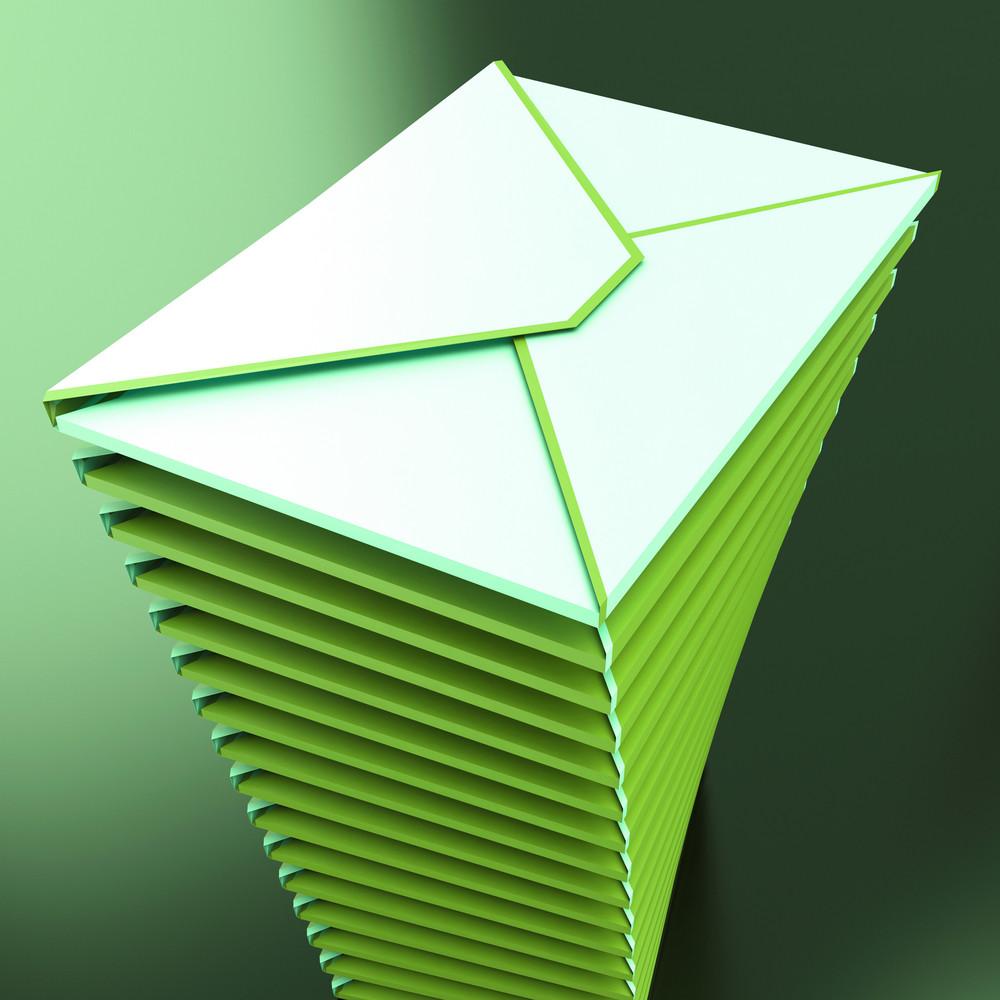 Piled Envelopes Shows Electronic Mailbox Internet Communication