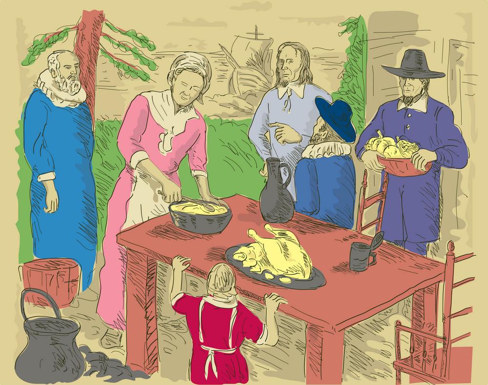 Pilgrims Celebrating First Thanksgiving Dinner