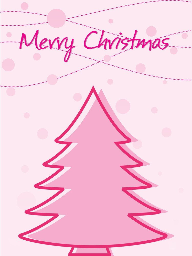 Pink Background With Christmas Tree And Snow