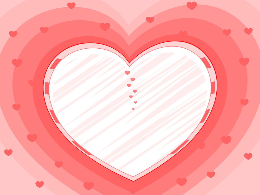 Pink Background With Decorative Heart And Copy Space. Vector Illustration.