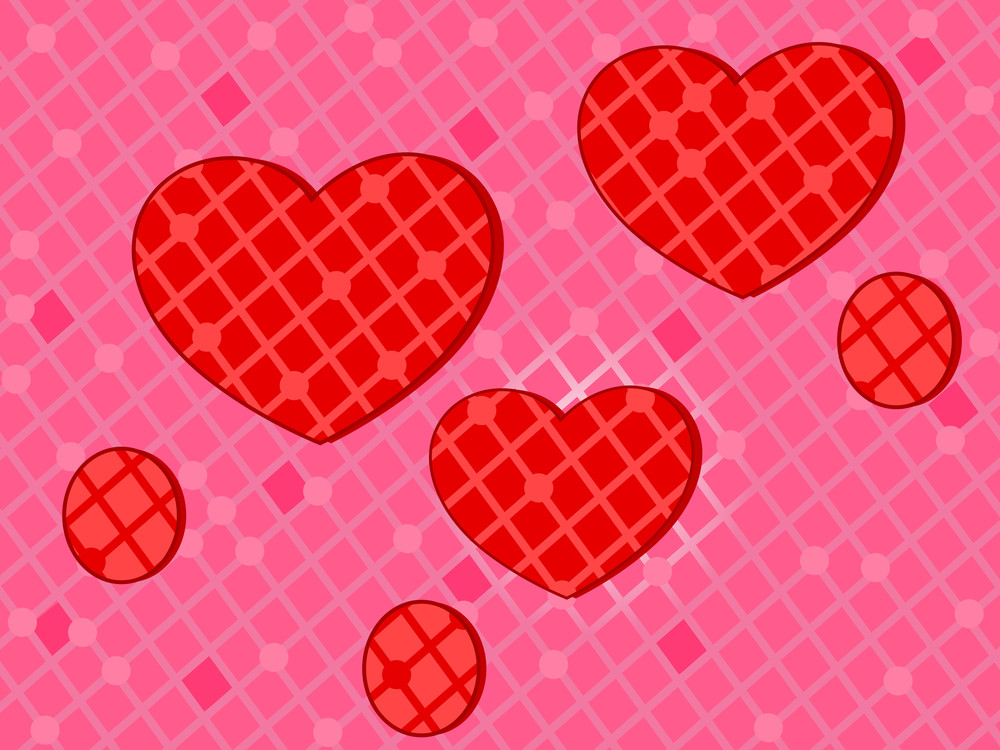 Pink Background With Decorative Red Hearts For Love And Other Occasion. Vector