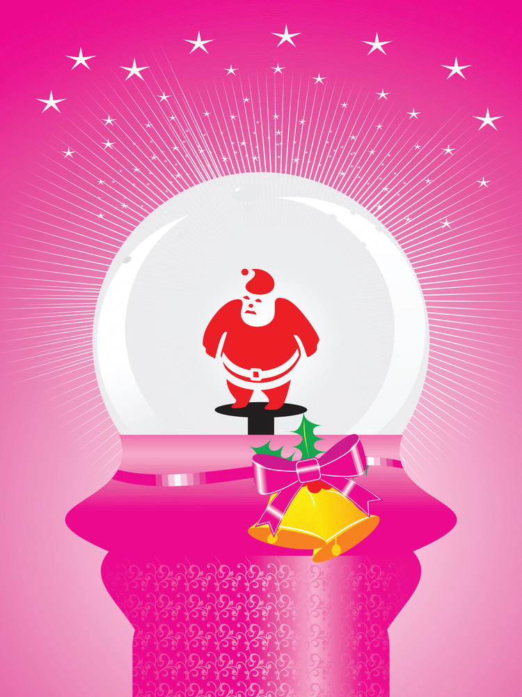 Pink Background With Shining Stars And Santa Claus In Glass Ball