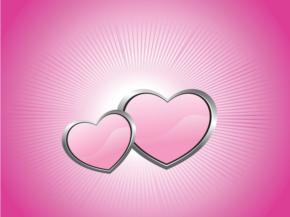 Pink Background With Two Heart