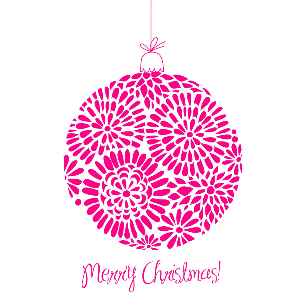 Pink Christmas Ball Illustration. -