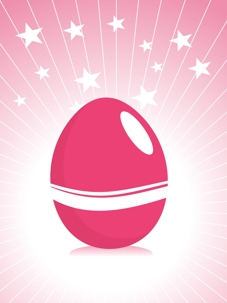 Pink Easter Egg With Rays Illustration