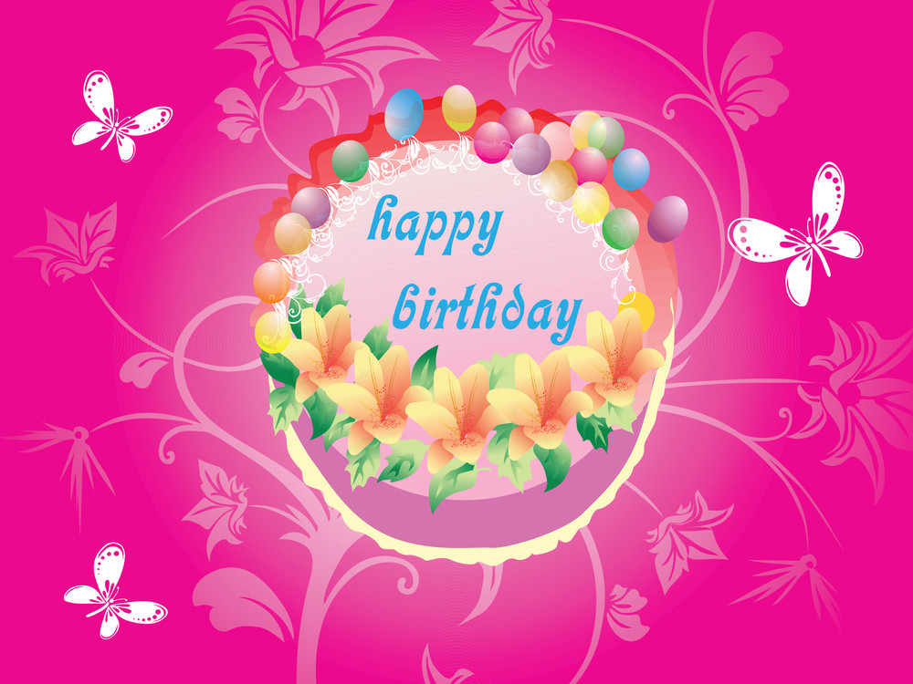 Pink Floral Background With Birthday Cake