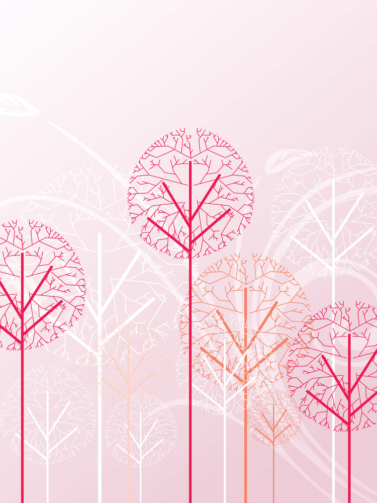 Pink Floral Background With Dry Tree