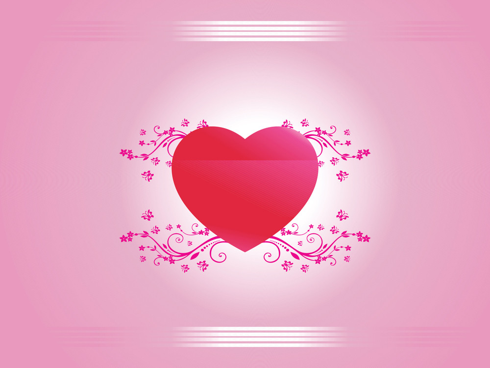 Pink Floral Background With Red Heart