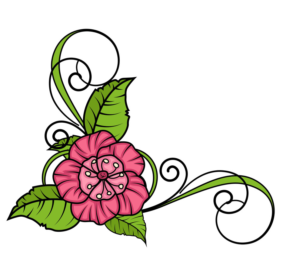 Pink Flower Corner Frame