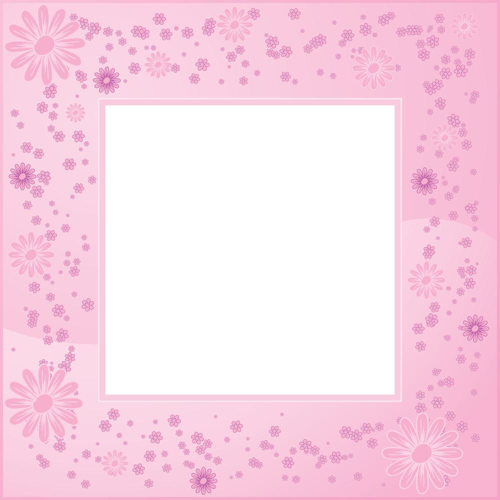 Pink Flower Vector Frame.