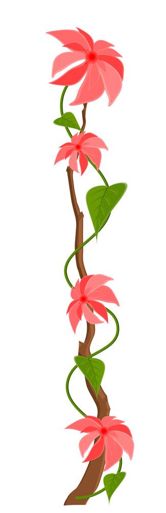 Pink Flowers Branch Vector Design