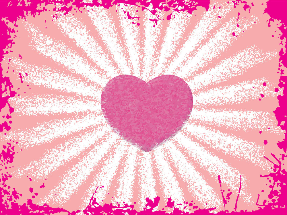 Pink Grunge Border With Heart