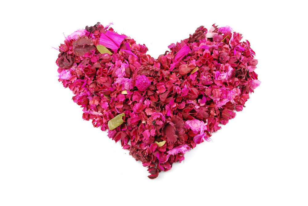 Pink Heart Made Of Dried Petals