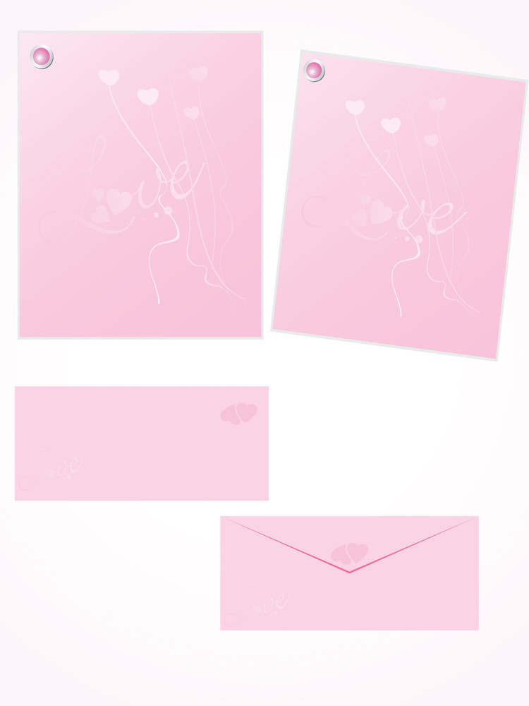 Pink Letter For Romantic Notes With Envelope Set 10