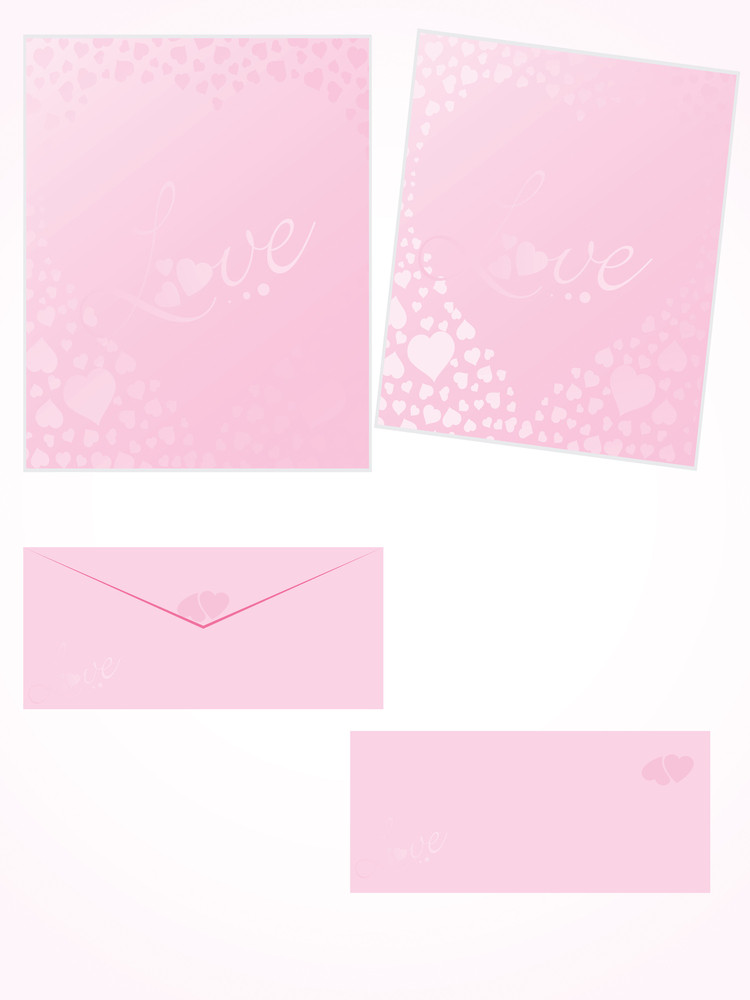Pink Letter For Romantic Notes With Envelope Set 2