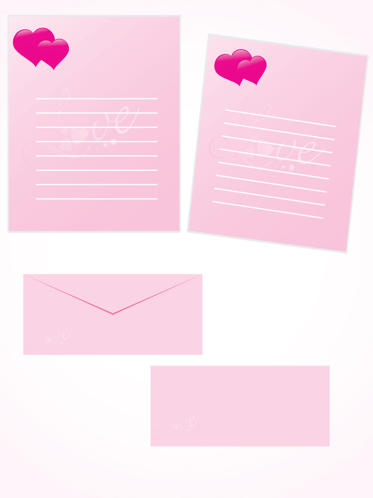 Pink Letter For Romantic Notes With Envelope Set 9