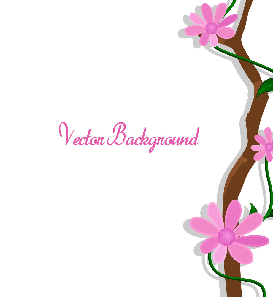 Pink Nature Flowers Branch Vector