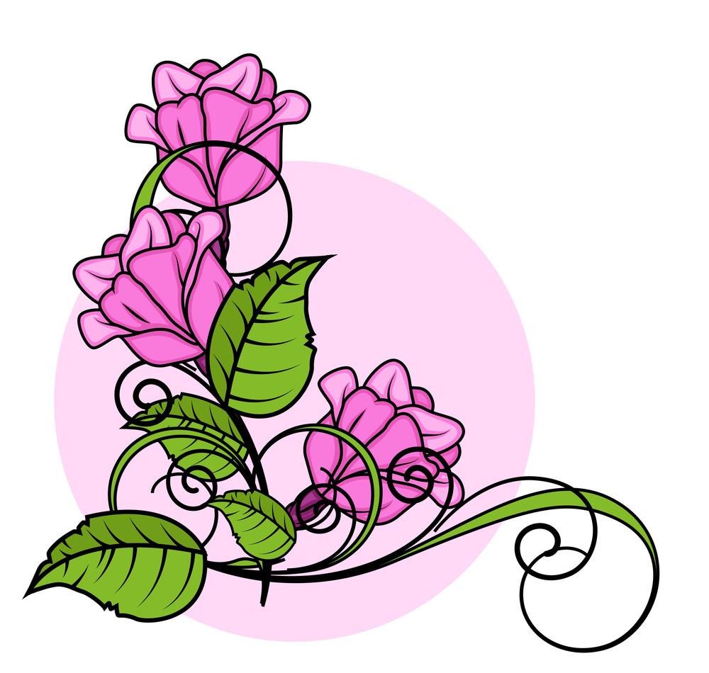 Pink Roses Corner Frame