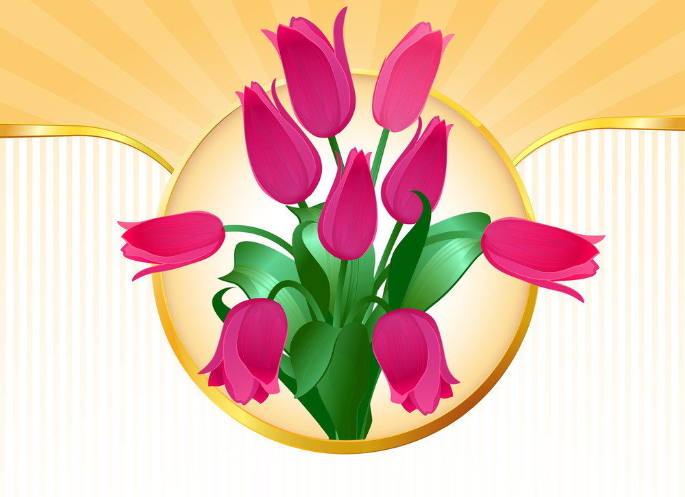Pink Tulip Celebration Bouquet. Vector
