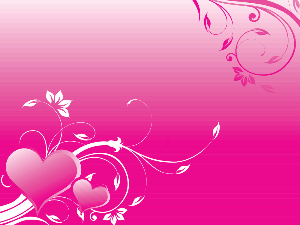 Pink Valentines Couple Heart With Floral Elements