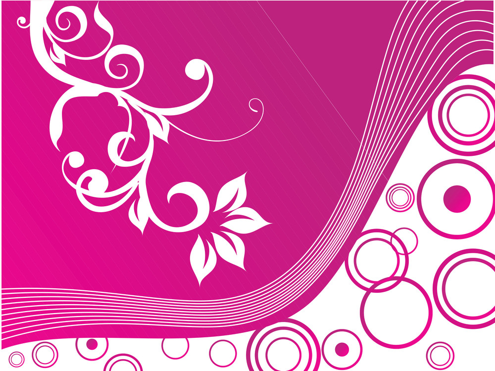 pink vector wallpaper of floral themes on halftone background