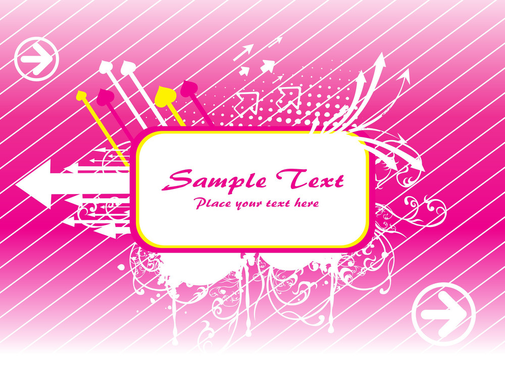 Pink Wallpaper With Many Arrows And Sample Text