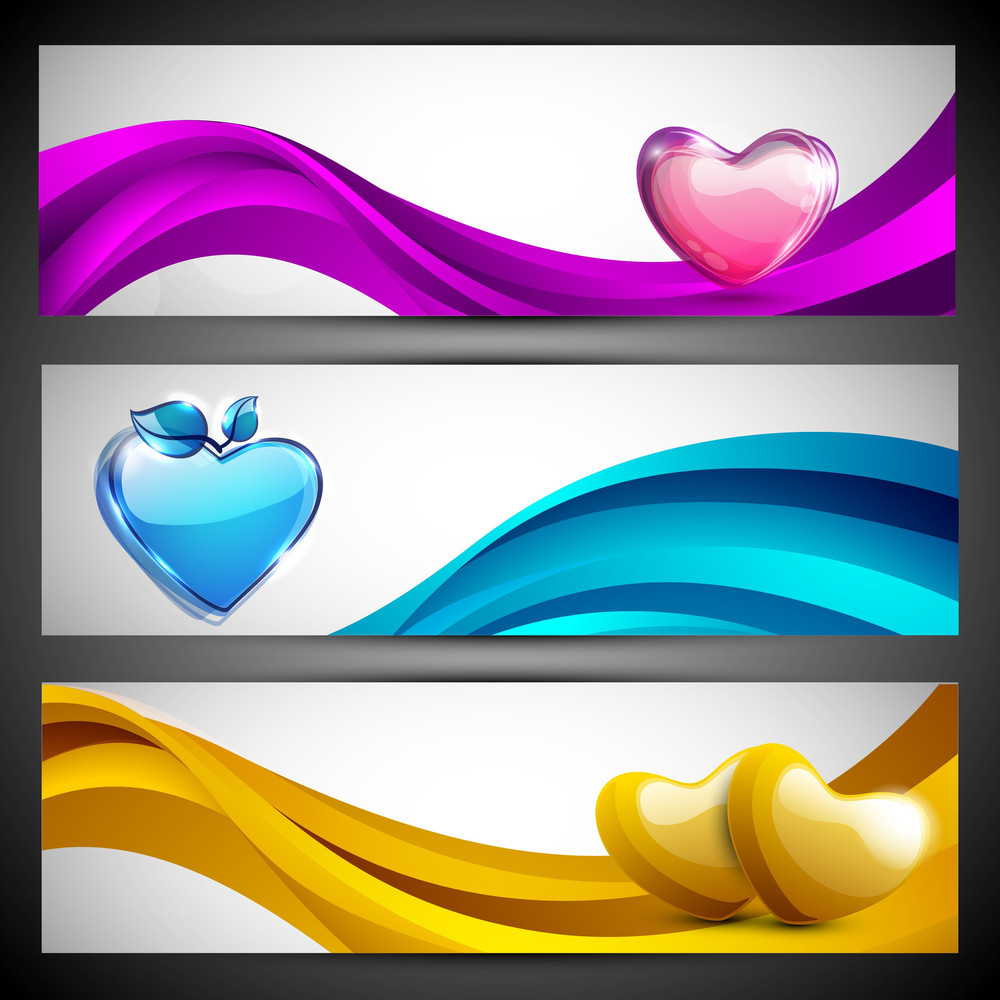 Pink, Yellow And Sky Blue Hearts On Wave