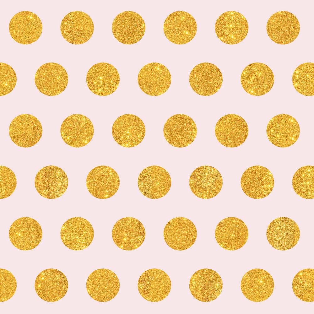 Gold Glitter Polka Dots Pattern On A Light Pink Background