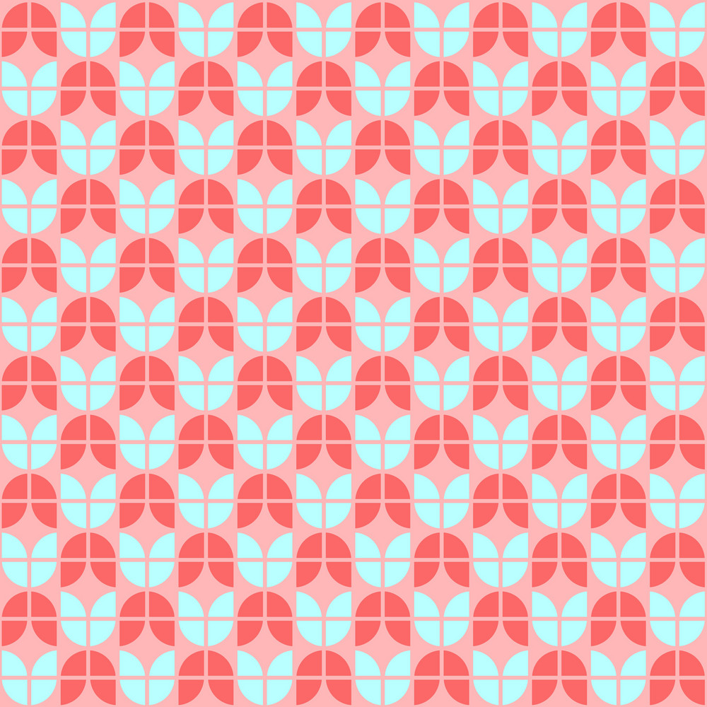Turquoise, Red, And Pink Tulip Pattern